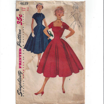 Simplicity 4639 Pattern for Junior Misses' 1 Piece Dress with Detachable Collar, Size 13, From 1950s, Vintage Pattern, Home Sewing Pattern