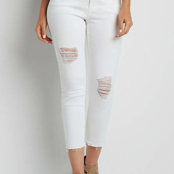 crop pant with destruction and released hem in white | maurices