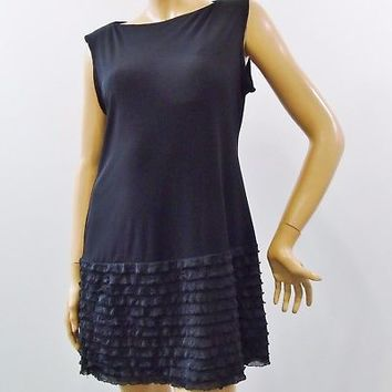 Donna Morgan Black Sleeveless Stretch Jumper Ruffled Bottom Dress Sz 12P