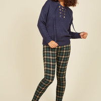 Slow and Edgy Wins the Race Pants in Green Plaid | Mod Retro Vintage Pants | ModCloth.com