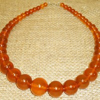 52gr. Very Beautiful Genuine Baltic Honey Egg Yolk Amber Round Beads Necklace (73)