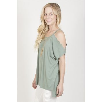 Scallop Open Shoulder Top