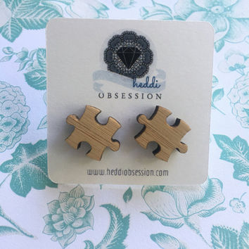 Wooden puzzle piece earrings