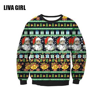 Unisex Sweaters Fashion Santa Claus Tree Reindeer Patterned Sweater Ugly Christmas Sweaters For Men Women Pullovers B104