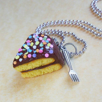 chocolate frosted yellow cake slice with fork charm necklace polymer clay