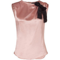 D&G DOLCE & GABBANA Blush Silk Top Embellished With Black Bow - Polyvore
