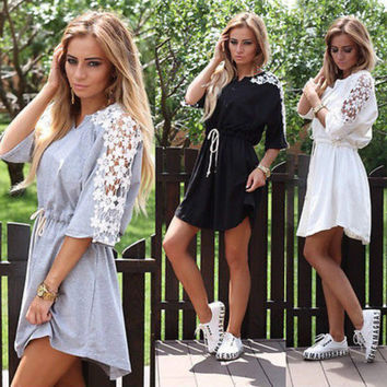 Summer Women Sexy Lacing Floral Casual Short Party Evening Mini Dress Grey Black