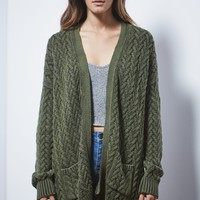 LA Hearts Basketweave Open Front Cardigan - Womens Sweater
