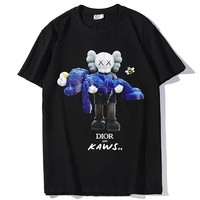 Dior x Kaws co-branded men's and women's cotton round neck loose half-sleeved T-shirt Black