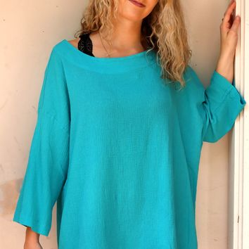 Resort Shirt - Hvar Turquoise by Bryn Walker