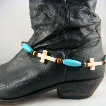Boot Bling ~ Bracelets for Boots ~ Boot Bracelet ~ Boot Jewelry - Cross Boot Bracelet -  Turquoise and White Boot Bling - One of a Kind