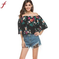 VONE05F8 fashion blouse women off shoulder floral printed casual tops shirt woman short sleeve vintage flare skeeve blusa