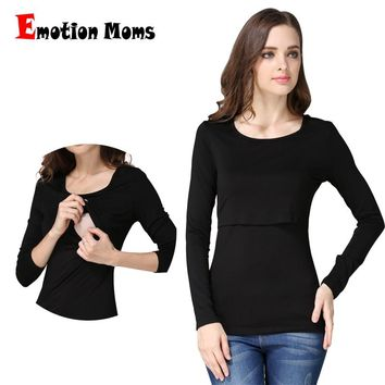 Emotion Moms Long sleeve pregnancy Maternity Clothes breast feeding tops for Pregnant Women Nursing Top Maternity T-shirt