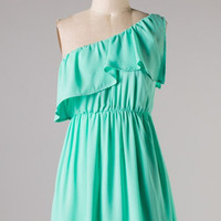 Ruffle Shoulder Dress - Mint - Hazel & Olive