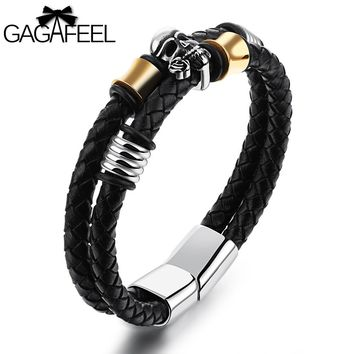 GAGAFEEL Bracelet For Men Wristband Magnetic Buckle Stainless Steel Genuine Cattlehide Leather Skeleton Ghost Bangles Jewelry