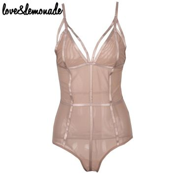 Sexy Nude-Colored Gauze Cut Out Bodysuits