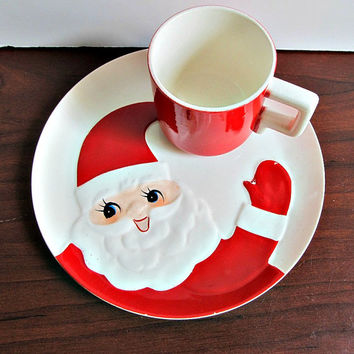 Holt Howard Santa Snack Set - Christmas, Cookie Plate, Milk Cup, Holiday Collectibles