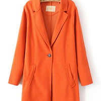 Notched Collar Single Buttoned Coat