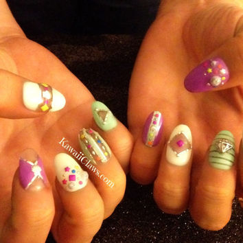Neon Candy 3d false fake nail art with studs, shells, negative space nails
