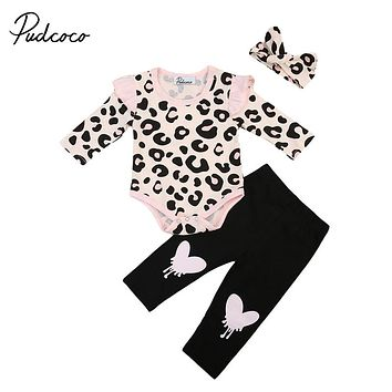 Fall 3pcs Baby Girl Clothes Set Leopard Long Sleeve Top Romper Headband Pants Leggings New Arrival Outfit For Newborns