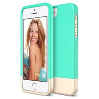 iPhone 5S Case, Maxboost [Vibrance Series] For Apple iPhone 5S / 5 Case [Lifetime Warranty] Protective SOFT-Interior Slider Style Hard Cases Cover - Turquoise/Champagne Gold