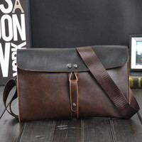 Men's Leather Handbags Briefcase Business Shoulder bags Messenger Bag Gift