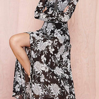 Chiffon Floral Print Maxi Dress With Side Split