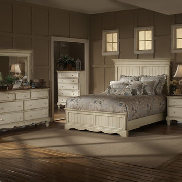 1172-wilshire-panel-bed-queen-rails-nightstand-dresser-mirror-and-chest - Free Shipping!