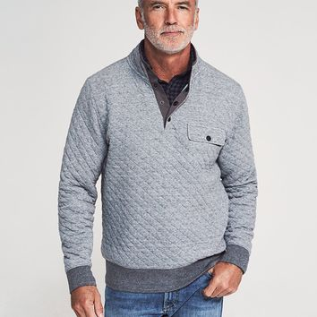 Quilted Snap Pullover - Grey Feeder Stripe