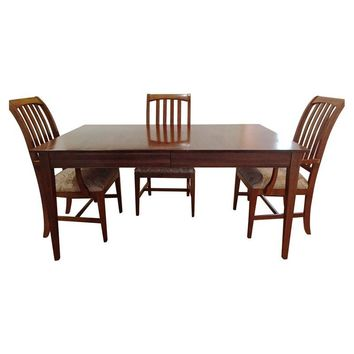 pre owned ethan allen dining room set table 6 chairs an ethan allen