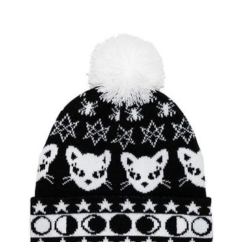 Witch Girl winter accessories Cat & Moon Phases Pom Pom Knit Beanie Goth