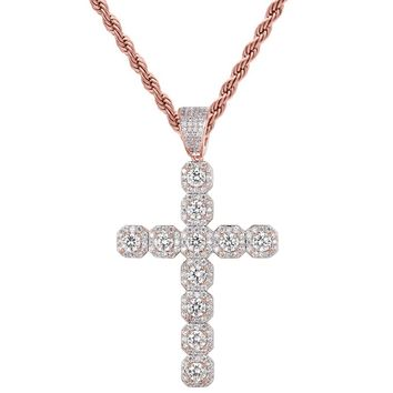 14k Rose Gold Finish Solitaire Jesus Cross Pendant