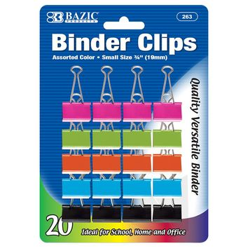 "BAZIC Small 3/4"""" (19mm) Assorted Color Binder Clip (20/Pack) Case Pack 24"