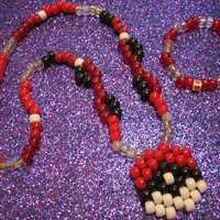Pokeball Kandi Necklace  W/ Matching Bracelet  by CutenessGifts