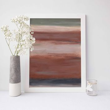 Rust Earth Tones Abstract Modern Painting Wall Art Print