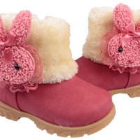 Baby Girls Infant Toddler Winter Fur Shoes Snow Boots rabbit for 9-30 months baby = 1932684868