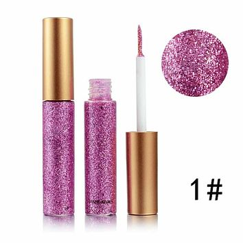 Glitter Eyes Make Up Liner Easy to Wear Waterproof Pigmented Red White Gold Liquid Eyeliner Glitter Makeup