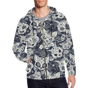 Fox Skull Design 1 Men's All Over Print Full Zip Hoodie