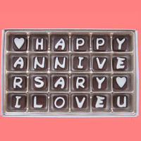 Happy Anniversary I Love You Cubic Chocolate Letters Gift for Him Boyfriend Gift for Girlfriend Her Romantic Gift Idea Wedding Anniversary