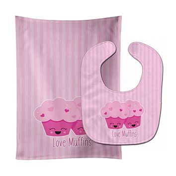 Love Muffins Baby Bib & Burp Cloth BB9127STBU