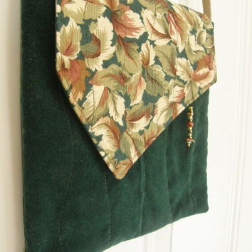 Cross Body Bag - Woodland Leaves and Forest Green Velveteen