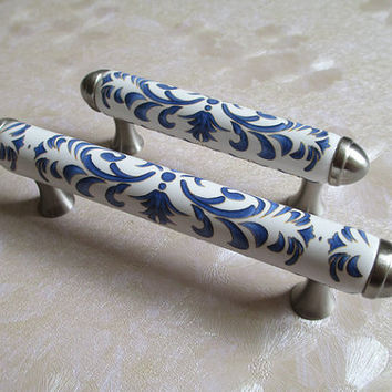 "3"" 76 mm Ceramic Dresser Drawer Pulls Handles White Indigo Blue / Porcelain Kitchen Cabinet Door Handles / Art Deco Furniture Hardware L12"