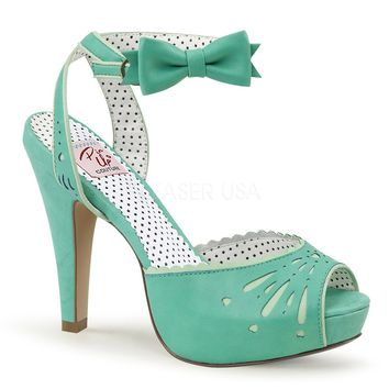 "Bettie 01 Ankle Wrap Platform Sandal Bow Detail 4"" High Heel Teal"