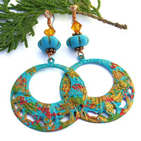 Boho Coachella Filigree Hoop Earrings, Colorful Hippie Turquoise Red Gold Crystals Jewelry