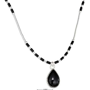 """STERLING SILVER 16"""" LIQUID SILVER WITH TEARDROP SIMULATED BLACK ONYX NECKLACE"""