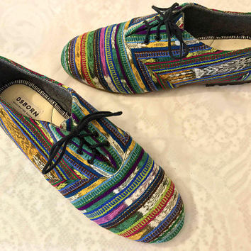 Vtg Men's OSBORN Hand Crafted Signed Artisan Shoes / Rainbow Woven Textile Lace Up Oxford Shoes / Ethnic Guatemalan Bohemian Shoes For Men