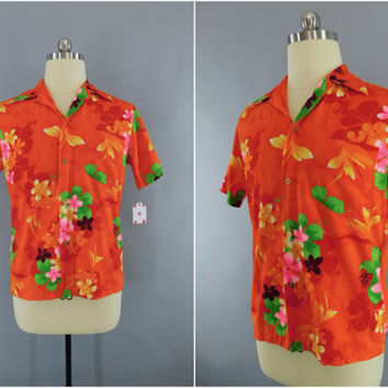 Vintage 1960s Hawaiian Shirt / 60s Aloha Shirt / Men's Shirt / Mid-Century Menswear / Neon Orange Hawaiian Print / Royal Hawaiian