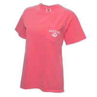 The Mizzou Store - Mizzou Comfort Colors Juniors' Coral Crew Neck T-Shirt