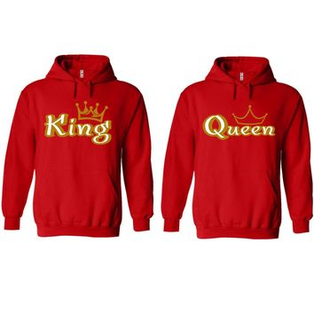 Gold King and Queen Red Hoodie