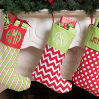 SALE Monogram Christmas Stocking personalized FREE